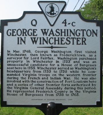 George Washington in Winchester Marker Photo, Click for full size