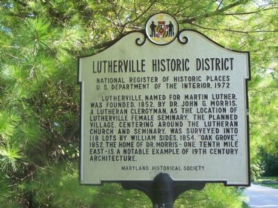 Lutherville Historic District Marker image. Click for full size.
