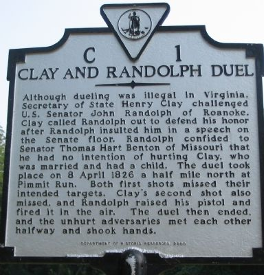 Clay and Randolph Duel Marker image. Click for full size.