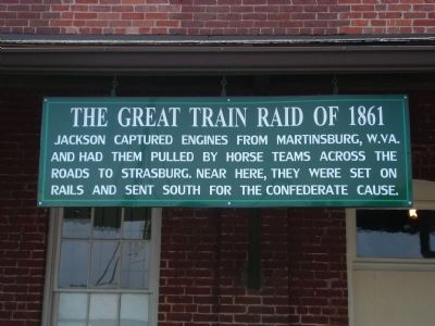 Sign on the Strasburg Museum relaying story of the railroad equipment movement. image. Click for full size.