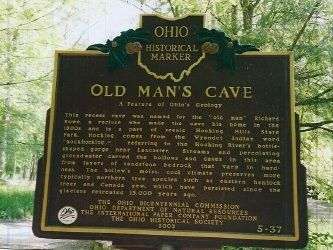 Old Man's Cave Marker image. Click for full size.