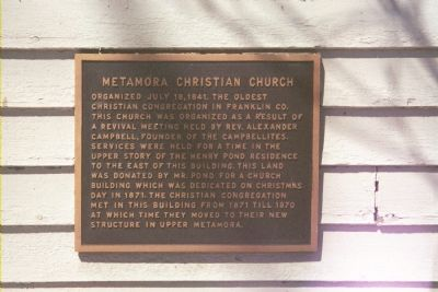Metamora Christian Church Marker image. Click for full size.