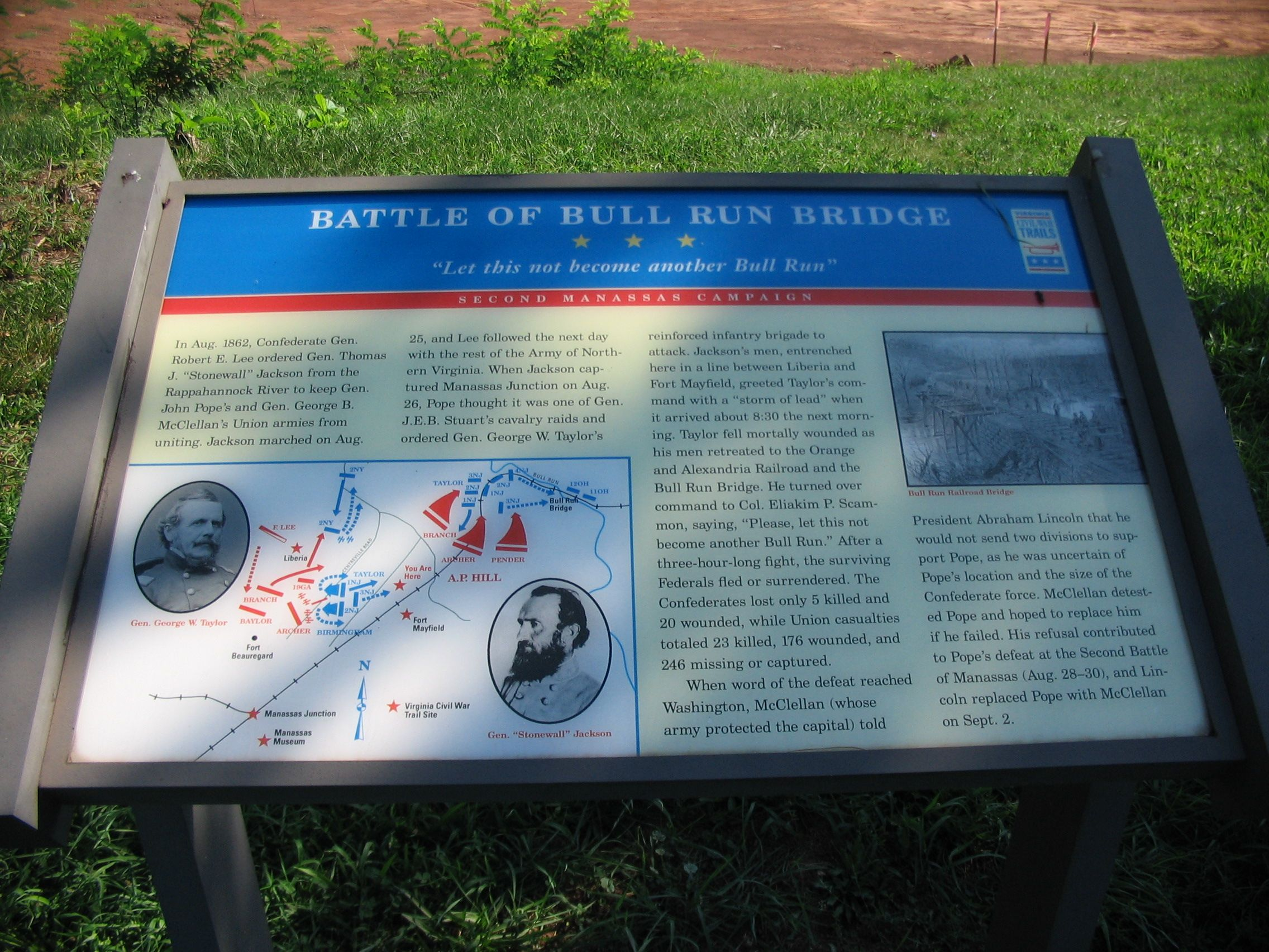 Battle of Bull Run Bridge Marker
