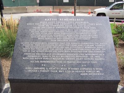 Katyn Remembered Marker image. Click for full size.