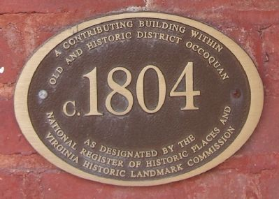 Occoquan Historic District Contributing Building Plaque image. Click for full size.