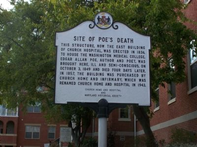 Site of Poe's Death Marker image. Click for full size.