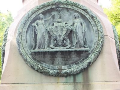 Odd Fellows plaque on opposite side of monument. image. Click for full size.
