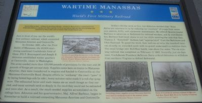 Wartime Manassas - World's First Military Railroad Marker image. Click for full size.
