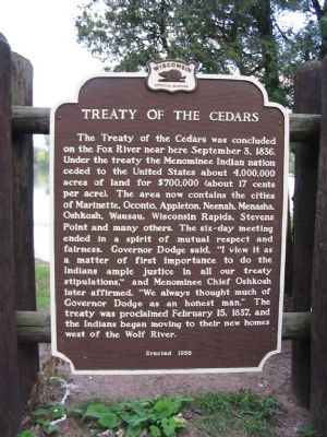 Treaty of the Cedars Marker image. Click for full size.