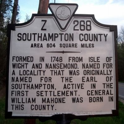 Southampton County Marker Photo, Click for full size