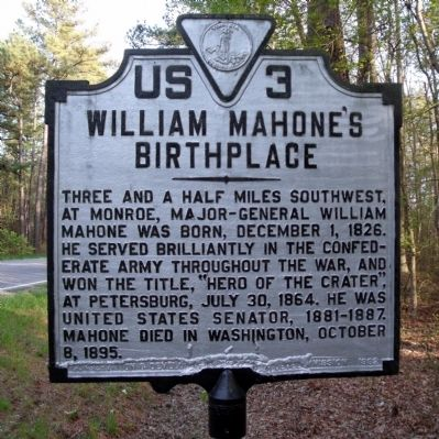 William Mahone's Birthplace Marker image. Click for full size.