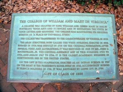 The College of William and Mary in Virginia Marker Photo, Click for full size