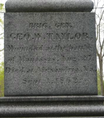 gen. George W. Taylor Grave Monument Inscription Photo, Click for full size