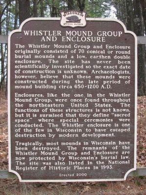 Whistler Mound Group and Enclosure Marker image. Click for full size.