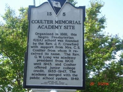 Coulter Memorial Academy Site Marker Photo, Click for full size