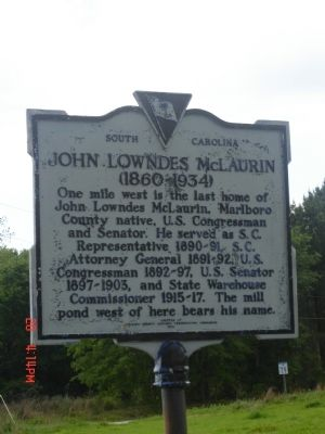 John Lowndes McLaurin Marker image. Click for full size.