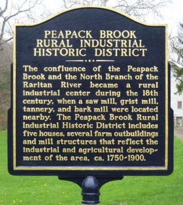 Peapack Brook Rural Industrial Historic District Marker image. Click for full size.