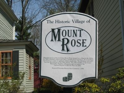 The Historic Village of Mount Rose Marker Photo, Click for full size