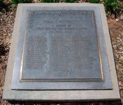 Furman University World War II Memorial Marker Photo, Click for full size