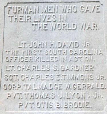 Furman Men Who Gave Their Lives in the World War Marker image. Click for full size.
