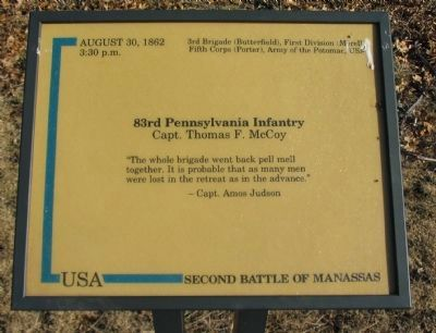 83rd Pennsylvania Infantry Marker Photo, Click for full size