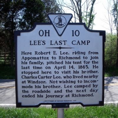 Lee's Last Camp Marker image. Click for full size.