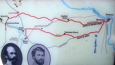 Route of Ewell's retreat from Richmond to Amelia Court House image. Click for full size.