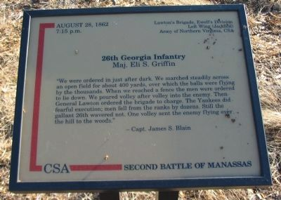 26th Georgia Infantry Marker image. Click for full size.