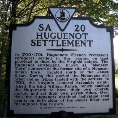 Huguenot Settlement Marker Photo, Click for full size