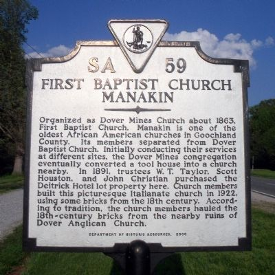 First Baptist Church Marker Photo, Click for full size
