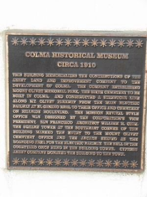 Colma Historical Museum Marker image. Click for full size.