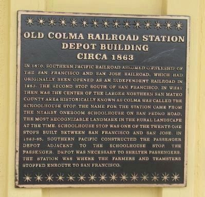 Old Colma Railroad Station Marker image. Click for full size.