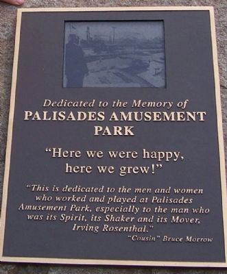 Palisades Amusement Park Marker Photo, Click for full size