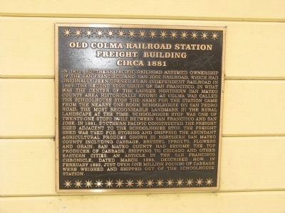 Old Colma Railroad Freight Depot Marker Photo, Click for full size