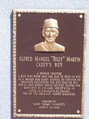 "Alfred Manuel "" Billy Martin Marker image. Click for full size."
