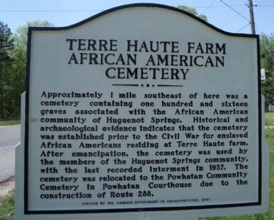 Terre Haute Farm African American Cemetery Marker image. Click for full size.