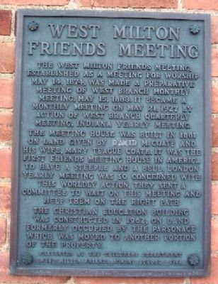 West Milton Friends Meeting Marker Photo, Click for full size