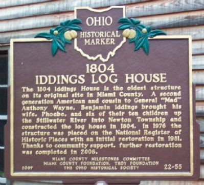 1804 Iddings Log House Marker Photo, Click for full size