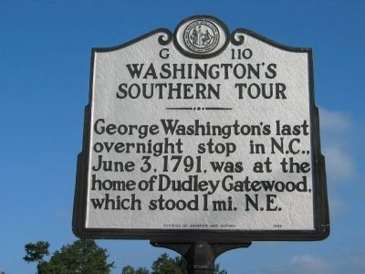 Washington's Southern Tour Marker Photo, Click for full size