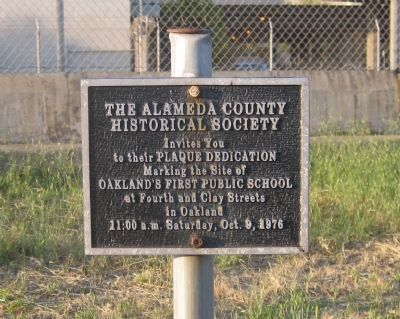 Oakland's First Public School Marker - Invitiation to the Dedication image. Click for full size.