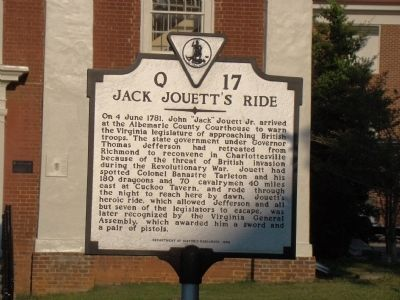 Jack Jouett's Ride Marker image. Click for full size.