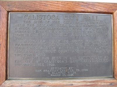 Calistoga City Hall Marker Photo, Click for full size