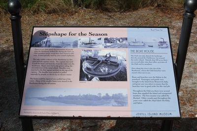 Jekyll Island Boat House Site, Shipshape for the Season Marker image. Click for full size.