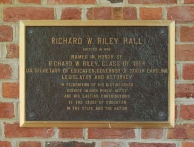 Richard W. Riley Hall Marker image. Click for full size.