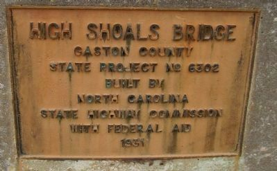 State Highway Commission Plaque at the High Shoals Bridge image. Click for full size.