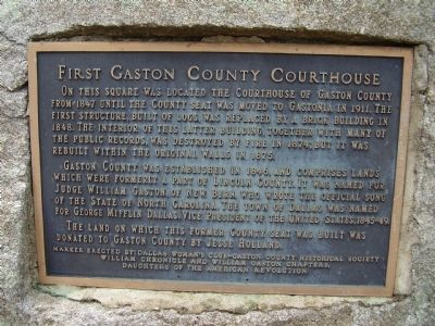 First Gaston County Courthouse Marker image. Click for full size.