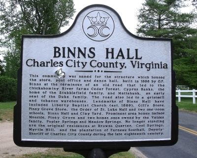 Binns Hall Marker image. Click for full size.