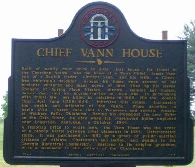 Chief Vann House Marker Photo, Click for full size