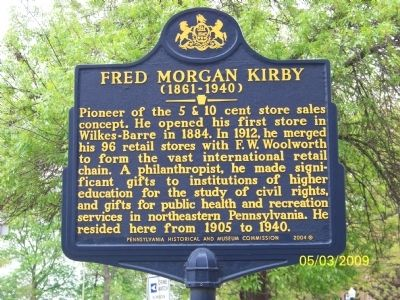 FRED MORGAN KIRBY Marker Photo, Click for full size