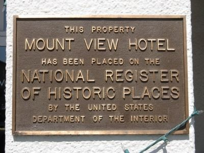 Mount View Hotel Marker image. Click for full size.